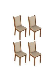 Kit 4 Cadeiras 4291 Madesa Rustic/Crema/Pérola Marrom