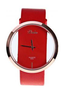 Relógio Feminino Dalas Quartzo Pulseira Couro Pu - Vermelho