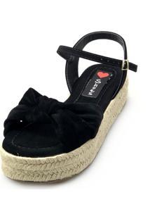 Salomé Espadrille Love Shoes Anabela Plataforma Corda Nó Preto