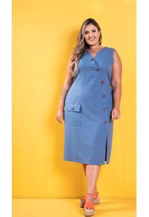 Vestido Linho Laís Azul Plus Size Domenica Solazzo