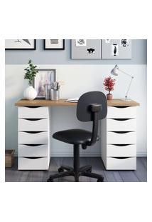 Mesa Escrivaninha Artany 10 Gavetas Due Nogal/Branco
