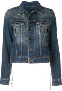 Saint Laurent Jaqueta Jeans Com Detalhe De Amarração - Azul
