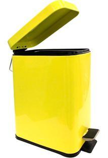 Lixeira Retangular Com Cesto Removível 5 Litros Amarela