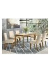 Mesa De Jantar Ghala 160Cm 6 Cadeiras Maris - Nature/Off White/Linho