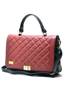 Bolsa Hendy Bag Couro Vermelho E Azul