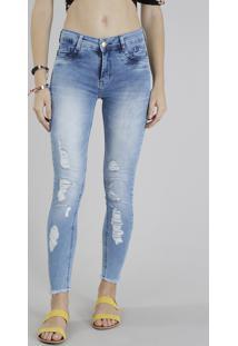 2f77e436a R$ 129,99. CEA Calça Jeans Feminina Sawary Super Skinny Destroyed Azul Claro