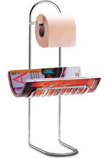 Papeleira / Suporte Para Banheiro De Aço Cromado Com Apoio Para Rev.