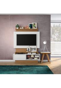 Painel Arapuá Para Tv 60 Polegadas Branco Brilho Off-White E Freijo 141 Cm