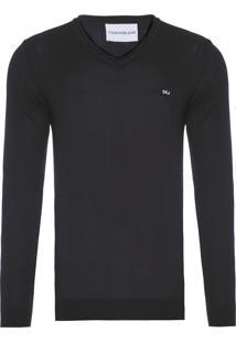 Suéter Masculino Decote V Básico - Preto