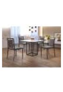 Conjunto De Mesa De Jantar Hera Com Tampo De Vidro Mocaccino E 4 Cadeiras Grécia Ii Linho Cinza E Preto