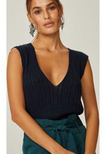 Amaro Feminino Blusa Tricot Decote Profundo, Marinho