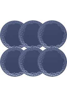 Conjunto 6 Pratos Rasos Oxford Mia Maré 28.5Cm Porcelana Azul