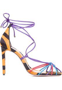 Sandália Feminina Lace Up Zebra Colors - Animal Print