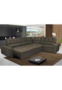 Sofa De Canto Retrátil E Reclinável Com Molas Cama Inbox Austin 3,45X2,44 Ou 2,44X3,45 Suede Velusoft Café