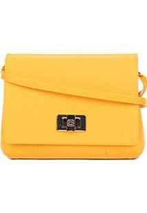 Bolsa Petite Jolie Mini Bag Verniz One Feminina - Feminino-Amarelo+Branco