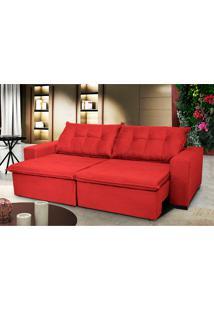Sofá Austrália 2,92M Retrátil, Reclinável, Molas E Pillow No Assento Tecido Suede Vermelho Cama Inbox