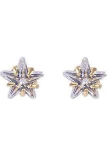 Brinco Pequeno Folheado Com Pedra Cristal Wonder Atacado Bijuterias Feminino - Feminino-Dourado