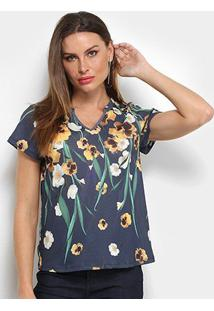 Camiseta Lança Perfume Justa Estampada Gola V Feminina - Feminino-Marinho