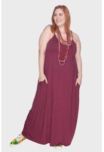 Vestido Bold Longo Alça Fina Plus Size Feminino - Feminino-Vinho