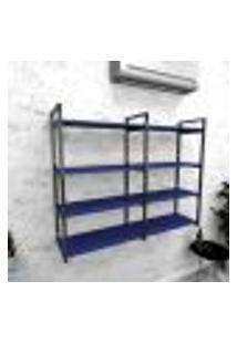 Estante Industrial Escritório Aço Cor Preto 120X30X98Cm (C)X(L)X(A) Cor Mdf Azul Modelo Ind42Azes