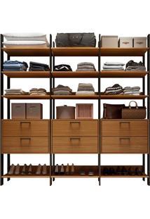 Closet Tw 405 Com 6 Gavetas Freijó Com Preto