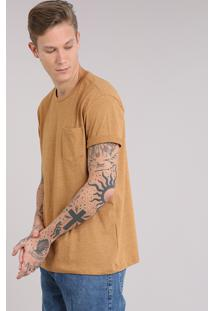 Camiseta Masculina Com Bolso Manga Curta Gola Careca Amarelo Escuro