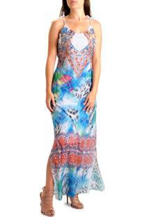 Vestido Longo 101 Resort Wear Renda Estampada Multicolorido