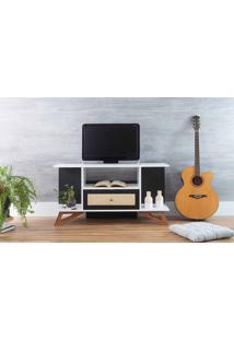 Rack Tv Pequeno Stills Branco E Preto Com Jatobá 108X33,6X56,5Cm