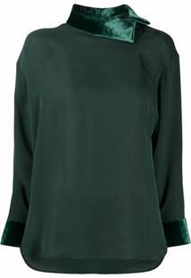 Emporio Armani Blusa De Seda Com Acabamento De Veludo - Verde