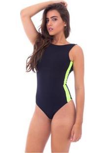 Body Moda Vicio Regata Decote Costas Recorte Lateral - Feminino-Preto+Limão