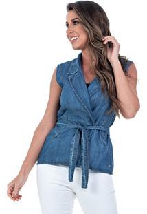Colete Jeans Bloom Transpassado Com Cinto Azul