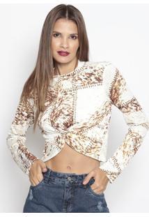 Blusa Cropped Com Torção - Off White & Marrom - Moremorena Rosa