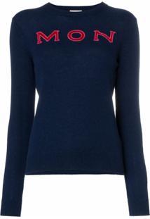 Moncler Suéter De Cashmere Com Logo - Azul
