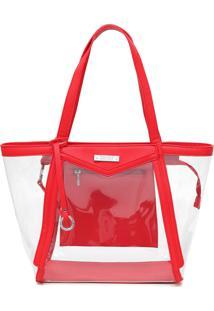 Bolsa Santa Lolla Transparente Vermelha