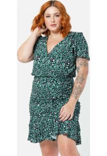 Vestido Curto Plus Size Drapeado Viscose Verde