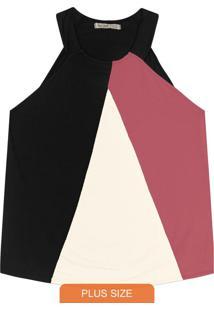 Blusa Plus Size Frente Única Rosa