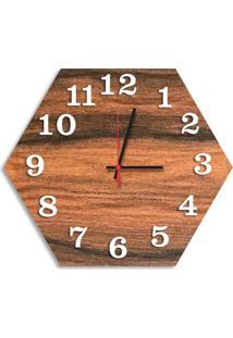 Relógio De Parede Decorativo Premium Hexagonal Amadeirado Com Números Em Relevo Médio