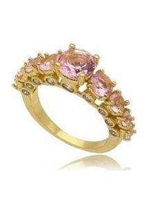 Anel Cristais Bolinha Rosa No Banho De Ouro 18K - Feminino-Dourado