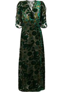 Jessie Western Vestido Envelope De Veludo - Verde
