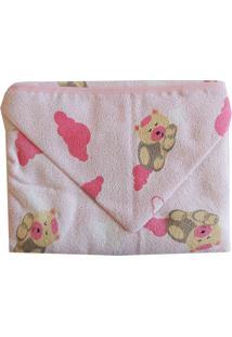 Toalha De Banho Capuz Ursinho Na Nuvem Rosa