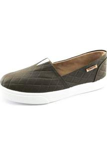 Tênis Slip On Quality Shoes Matelassê Feminino - Feminino-Café