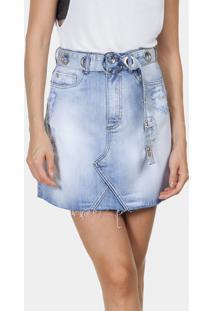 Saia Jeans Miami Com Cinto Jeans - Lez A Lez