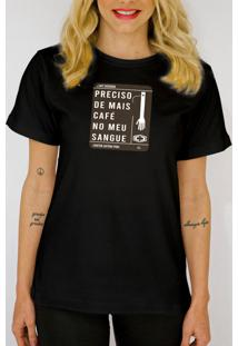 T-Shirt Camiseta Clube Preciso De Mais Café Preta - Kanui