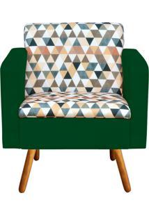 Poltrona Decorativa Emília Estampado Triangulo D87 Com Suede Verde - D'Rossi