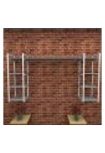 Estante Estilo Industrial Sala Aço Cor Branco 180X30X98Cm (C)X(L)X(A) Cor Mdf Cinza Modelo Ind51Csl