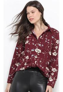 Camisa Facinelli Manga Longa Floral Feminina - Feminino-Vinho