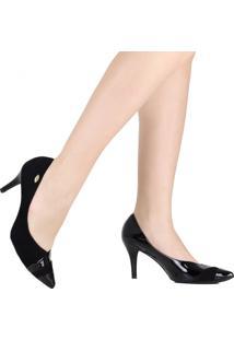 Sapato Scarpin Luz Da Lua Bico Fino Preto