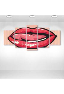 Quadro Decorativo - Lips Of Woman - Composto De 5 Quadros - Multicolorido - Dafiti