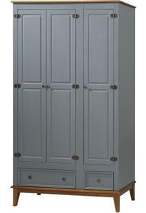 Armario Malibu 3 Portas E 2 Gavetas Cor Cinza Com Amendoa 204 Cm - 62385 - Sun House