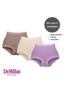 Kit C/3 Calcinhas Clássica Secret Demillus 57001 T. P/Eg Bege/Roxo
